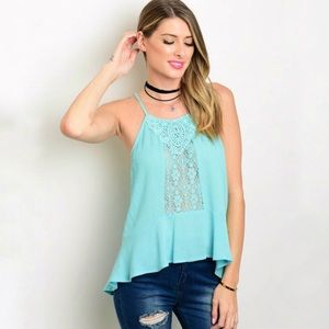 Flying Tomato Turquoise Blue Tank Top Blouse